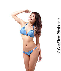 woman wear bikini and feel free - Beautiful young woman wear...