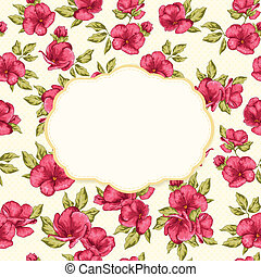 Reto card with frame and flower pattern. Wedding invitation...