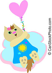 Sweet Cat with Heart Balloon