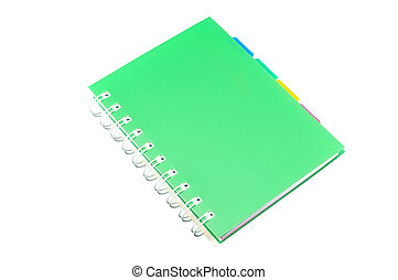Green Ring Binder Notebook isolated on White Background with...