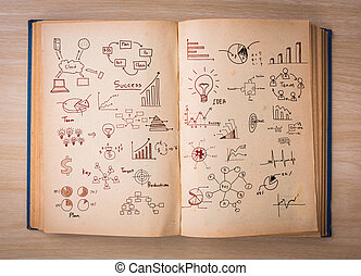 Open book with  drawing graph pages on wood background