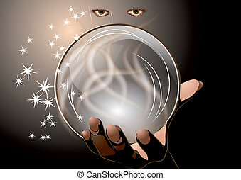 clairvoyant abstract woman with magic ball on dark...