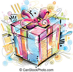 Gift Box Vector Image was digital created. No opening Paths...