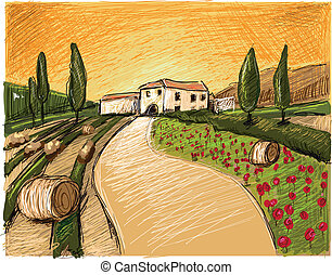 Tuscany Evening - This italy Tuscany Scene was digital...