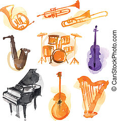 Water Color Instruments - Different Instruments on white...