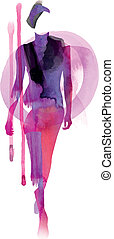 Catwalk Style - This Fashion Vector Image was digital...
