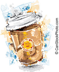 Coffee to go, drawn on white Background. Only one Layer. No...