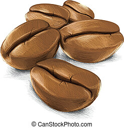 Five Coffee Beans - This Coffee Vector Image was digital...