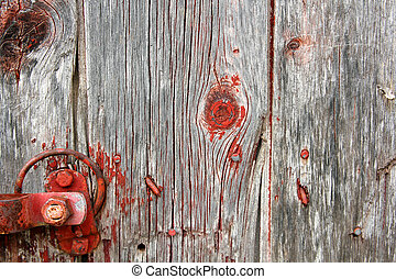 Red Rustic Barn Wood Background with Latch Hardware - A...