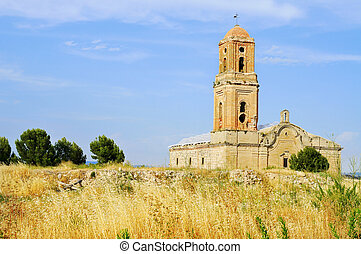 Sant Pere Church in Poble Vell de Corbera dEbre in Spain -...