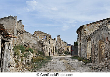Poble Vell de Corbera d'Ebre in Spain - view of Poble Vell...