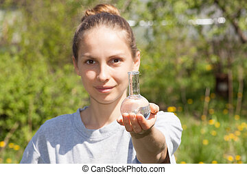 researcher testing the water quality - woman researcher...