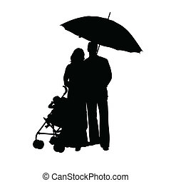 couple with baby carriage silhouette art vector illustration