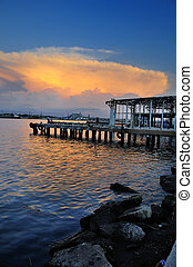 Abandoned pier at sunset - A view of abandoned pier in Old...