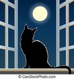 cat on a window sill - Vector illustration of black feline...