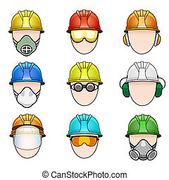 set of worker icons in helmet with protective elements