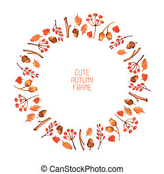Vector watercolor autumn frame. Illustration. Beautiful background. Wreath made of hand drawn leaves. Vintage for invitations. Endless texture can be used for printing or scrap booking.