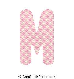 Pink squares pattern alphabet M