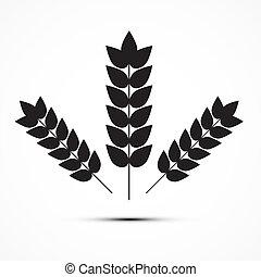 vector, orejas, trigo, icono, Ilustración