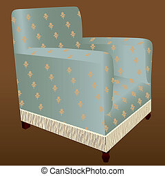 Fringed armchair