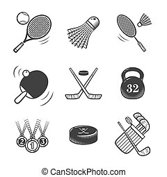 Collection of vector icons. Sport equipment.