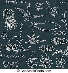 Sealife hand drawn seamless pattern - Chalkboard seamless...
