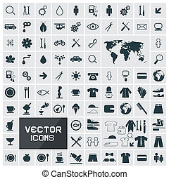 Vector Square Flat Icons Set