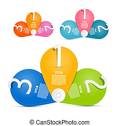 One, two, three, vector paper progress steps for tutorial, infographics set