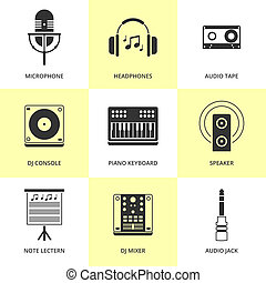 Set of black music and sound icons.