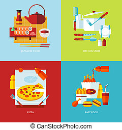 Set of flat design concept icons for food and tableware....