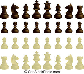 Chessmen complete set - black and white chessmen complete...