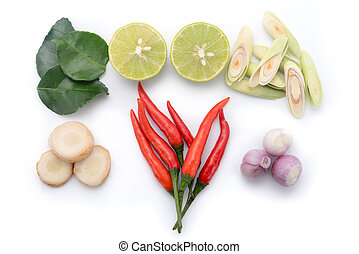 kaffir lime leaf, lemon, chopped lemongrass, galangal,...