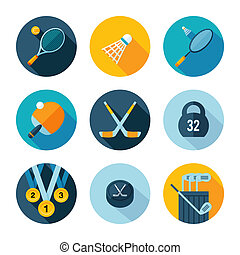 Set of sports icons. Vector sport equipment in flat modern...