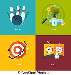 Set of flat design concept icons for sports kinds. Icons for...