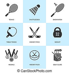 Set of black sports icons. Vector sport equipment in flat...