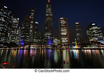 Singapore night reflection in the water Beautiful Asian city...