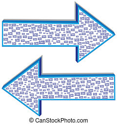 Succes - Illustration of two arrows of different directions...