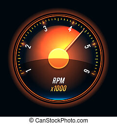Vector tachometer. Glossy style modern unusual illustration