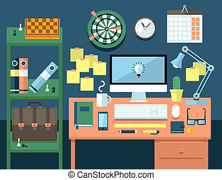 Flat illustration concept of office workspace. - Flat modern...