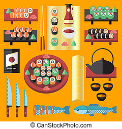 Vector sushi and Japanese food icons set. Stuff for cooking...