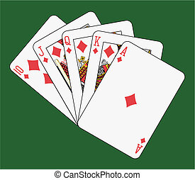 Royal flush diamond on green background