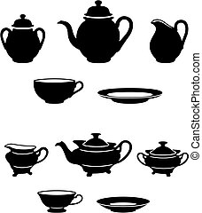 Tea set - Two different tea sets black and white silhouettes