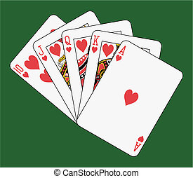 Royal flush heart on green background