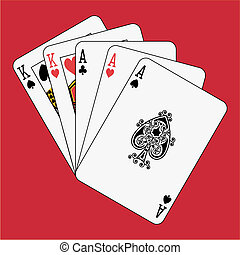 Full house aces kings on red background