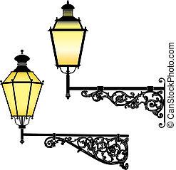 parede, rua, lâmpadas