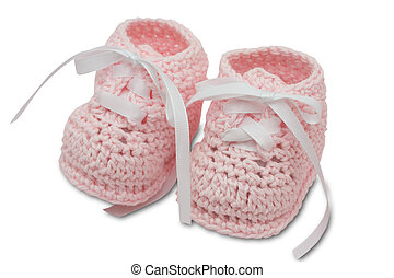 Baby Booties - Pink baby booties isolated on a white...