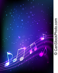 Blue abstract music background - Blue and purple vertical...