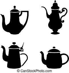 Teapots - Four teapots black and white silhouettes