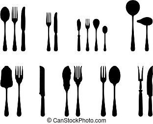 Silverware - silverware complete set black and white...