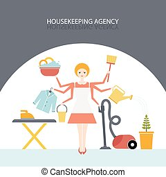 Housekeeping Agency - Busy housekeeper simultaneously doing...